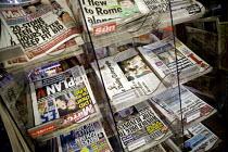 Newspaper stand at a newsagents, Birmingham - John Harris - 27-07-2012