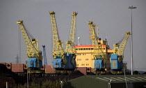 Bulk carrier cargo ship Dimitrovsky Komsomol a Bulgarian vessel importing coal from Ust-Luga Russia, Alexandra Dock, Newpork Docks. Wales. - John Harris - 20-07-2012