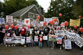 Protest by Montgomeryshire Against Pylons at the SPEN and National Grid Public consultation event and exhibition Information Event � windfarm roadshow. The preferred routes selected to connect wind fa... - John Harris - 08-08-2012
