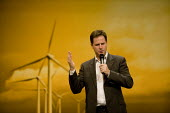 Nick Clegg speaking at a question and answer session with the backdrop of a windfarm, Liberal Democrats Conference Brighton 2012 - John Harris - 23-09-2012