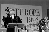 Jacques Delors President of the European Commission speaking, TUC Congress 1992. He argued the introduction of a single market within the European Community would allow collective bargaining to take p... - John Harris - 08-09-1992