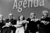 Sam McCluskie, Margaret Beckett, John Smith Larry Witty linking arms and singing Auld Lang Syne, The Labour Party leadership election, Labour Party Conference 1992 - John Harris - 10-10-1992