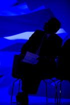 Michael Gove MP in blue light, Conservative Party conference 2012 Birmingham - John Harris - 2010s,2012,Birmingham,conference,conferences,CONSERVATIVE,Conservative Party,conservatives,Party,pol,political,POLITICIAN,POLITICIANS,politics,West Midlands