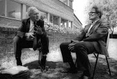 Tony Benn MP discussing politics with Ralph Miliband, Socialist Society Conference, Chesterfield 1988 - John Harris - 12-06-1988