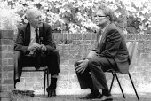 Tony Benn MP discussing politics with Ralph Miliband, Socialist Society Conference, Chesterfield 1988 - John Harris - 1980s,1988,BAME,BAMEs,bme,bmes,communicating,communication,Conference,conferences,conversation,conversations,dialogue,discourse,discuss,discusses,discussing,discussion,diversity,ethnicity,intellectual