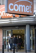 Customers leaving a Comet store, the electrical goods retailer, Birmingham. Private equity firm OpCapita has called in the administrators. - John Harris - 03-11-2010