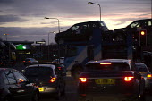Cars and a car transporter in the evening rush hour, ring road, Coventry - John Harris - 18-12-2012
