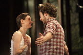 Pippa Nixon as Rosalind and Alex Waldmann as Orlando in As You Like It. RSC, Swan, Stratford-upon-Avon - John Harris - 2010s,2013,ACE,acting,actor,actors,actress,actresses,arts,culture,drama,DRAMATIC,FEMALE,people,performance,performer,performers,performing,person,persons,play,PLAYING,plays,Royal Shakespeare Company,R