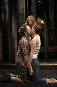 Pippa Nixon as Rosalind and Alex Waldmann as Orlando in As You Like It. RSC, Swan, Stratford-upon-Avon - John Harris - 2010s,2013,ACE,acting,actor,actors,actress,actresses,arts,culture,drama,DRAMATIC,FEMALE,kiss,kissing,people,performance,performer,performers,performing,person,persons,play,PLAYING,plays,Royal Shakespe