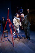 Chris Lew Kum Hoi as Cosimi de Medic and his telescope in A Life of Galileo. RSC, Swan, Stratford-upon-Avon - John Harris - 07-02-2013