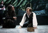 Rakie Ayola as Paulina and Jo Stone-Fewings as Leontes in The Winters Tale. RSC, Swan, Stratford-upon-Avon - John Harris - 28-01-2013