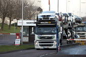 Cars being moved out of the plant by Czech Walon CZ, Honda South Marston plant, Swindon, where 800 jobs are to go. The redundancies are the result of falling demand due to the ongoing recession. - John Harris - ,2010s,2013,AUTO,auto industry,AUTOMOBILE,AUTOMOBILES,Automotive,BNL,capitalism,capitalist,car,Car Industry,carindustry,cars,CZ,Czech,distributing,distribution,DOWNTURN,driver,drivers,driving,EBF,Econ