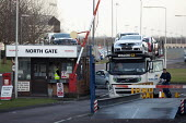 A driver with his paperwork at the North gate. Cars being moved out of the plant by Czech Walon CZ, Honda South Marston plant, Swindon, where 800 jobs are to go. The redundancies are the result of fal... - John Harris - 10-01-2013