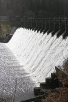 The stone-built dam and Stilling Basin, Lake Vyrnwy, Severn Trent Water reservoir, Powys, North Wales - John Harris - 16-04-2013
