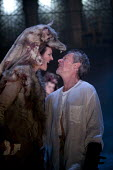 Stephen Boxer as Titus and Katy Stephens as Tamora, Titus Andronicus, Swan Theatre, Stratford upon Avon - John Harris - 2010s,2013,ACE,act,acting,actor,actors,arts,culture,kiss,kissing,revenge,Royal Shakespeare Company,Royal Shakespeare Theatre,RSC,RST,theatre,THEATRES,vengeful,William Shakespeare
