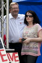 Len McCluskey, Gen Sec Unite and head of Campaigns and Communications team: Pauline Doyle, NHS 65th birthday Trafford Hospital, Manchester - John Harris - 05-07-2013