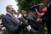 Press interviewing Len McCluskey, Gen Sec Unite who rejected critisism by Ed Milaband over the Falkirk selection process. NHS 65th birthday Trafford Hospital, Manchester - John Harris - 05-07-2013