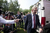 Press interviewing Len McCluskey, Gen Sec Unite who rejected critisism by Ed Ed Milaband over the Falkirk selection process. NHS 65th birthday Trafford Hospital, Manchester - John Harris - 05-07-2013