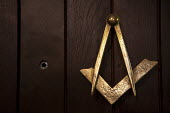 The Masonic Square and Compasses Compass and door peephole, Meridian Lodge, Guy's Cliffe, Warwick, Warwickshire - John Harris - 15-09-2013