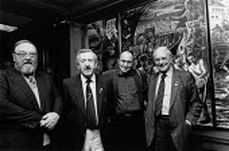 Sam McCluskie, Jim Slater Michael Jones and Jack Jones. Presentation of a mural painted by Michael Jones (Jack Jones's son) on occasion of Jim Slater's retirements from the NUS, Maritime house, London - John Harris - 25-11-1988