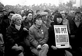 No Pit Closures. Hatfield Main womens support group rally, Dunscroft miners welfare, Dovescroft, Doncaster, Yorkshire, the Miners strike - John Harris - 21-01-1985