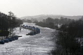 Boats moored. Flooding around the River Severn, Worcester, Worcestershire - John Harris - 06-01-2014