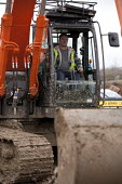 Housebuilding, Warwickshire - John Harris - 2010s,2014,builder,builders,building,building site,Building Worker,BUILDINGS,Construction Industry,Construction Workers,contractor,contractors,digger,diggers,driver,drivers,driving,EBF,Economic,Econom