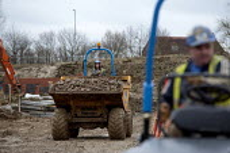 Housebuilding, Warwickshire - John Harris - 2010s,2014,builder,builders,building,building site,Building Worker,BUILDINGS,Construction Industry,Construction Workers,contractor,contractors,driver,drivers,driving,dumper truck,EBF,Economic,Economy,