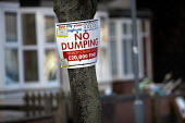 No Dumping litter sign, James Turner Street, featured in the Channel 4 program Benefits Street a tv series which has demonised the residents as the undeserving poor, Winson Green, Birmingham - John Harris - ,2010s,2014,benefit,benefits,Birmingham,cities,city,communicating,communication,communities,community,Demonisation,demonise,demonised,Demonization,demonize,demonized,Dominant Narrative,Dumping,EQUALIT