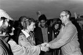 Brian Johnson (IPCS) thanking supporters on the day he was sacked for refusing to give up his rights to belong to a trade union after 33 years of work at GCHQ, GCHQ Trade unions, Cheltenham - John Harris - ,1980s,1988,activist,activists,at,ban,banned,banning,campaign,campaigner,campaigners,campaigning,CAMPAIGNS,de recognition,DEMONSTRATING,demonstration,DEMONSTRATIONS,derecognition,FEMALE,GCHQ,member,me