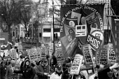 Over 10,000 marched through Cheltenham on the 6th anniversary of the ban on trades union membership GCHQ for which members were then sacked. GCHQ Trade unions, Cheltenham - John Harris - ,1990,1990s,activist,activists,anniversary,at,ban,banned,banner,banners,banning,campaign,campaigner,campaigners,campaigning,CAMPAIGNS,CPSA,de recognition,DEMONSTRATING,demonstration,DEMONSTRATIONS,der