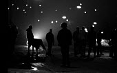Pickets from Frickley confront riot police at night as they try to break the strike, the police were kept out of the village in a confrontation that went on all night. South Elmsall pit village, Yorks... - John Harris - 1980s,1984,adult,adults,break,CLJ,conflicts conflict,confront,confrontation,confrontation violence,confronted,confronting,DISPUTE,DISPUTES,force,INDUSTRIAL DISPUTE,mass picket,MATURE,member,member mem