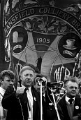 Arthur Scargill speaking to a protest by 15,000 Miners, Mansfield, Nottinghamshire - John Harris - ,1980s,1984,activist,activists,Arthur,CAMPAIGN,campaigner,campaigners,CAMPAIGNING,CAMPAIGNS,DEMONSTRATING,DEMONSTRATION,DEMONSTRATIONS,disputes,INDUSTRIAL DISPUTE,member,member members,members,miner,m