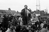 Arthur Scargill NUM speaking, WAPC rally Chesterfield at the end of the Miners strike, International Womens Day - John Harris - 09-03-1985