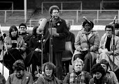 Jo Richardson MP speaking, WAPC rally Chesterfield at the end of the Miners strike, International Womens Day - John Harris - 09-03-1985