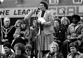 Ann Lilburn WAPC speaking, WAPC rally Chesterfield at the end of the Miners strike, International Womens Day - John Harris - 09-03-1985