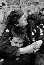Pickets asleep. Striking miners lobby Nottinghamshire Area NUM, Mansfield. - John Harris - 05-04-1984