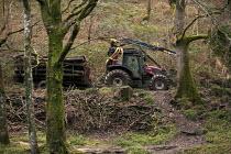 Tractor and trailer of timber, Whiddon Wood, Dartmoor, Devon - John Harris - 27-02-2014