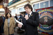Chris Skidmore NUM speaking as Caroline Flint MP listens, Miners strike 30th anniversary, Hatfield Main, Dunscroft, YorkshireMiners strike 30th anniversary, Hatfield Main, Dunscroft, Yorkshire - John Harris - 09-03-2014