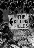 Protest against NIREX plans to dump nuclear waste Fulbeck 1986. Killing Fields sign. Nirex subcontractors investigating the use of the disused airfield for the dumping of low and intermediate level ra... - John Harris - 29-08-1986