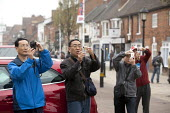 Tourists taking photographs, Stratford upon Avon, Warwickshire - John Harris - 2010s,2014,Amateur Photographer,asian,asians,camera,cameras,holiday,holiday maker,holiday makers,holidaymaker,holidaymakers,holidays,Japanese,Leisure,LFL,LIFE,pedestrian,pedestrians,PEOPLE,person,pers