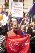 Unite Community members, Public sector workers strike over pay, pensions and workload, Strike rally, Victoria Square, Birmingham - John Harris - 10-07-2014