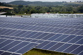 Ground mounted Photovoltaic panels at a Solar energy park on a nursery in the Vale of Evesham, Worcestershire - John Harris - 02-07-2014