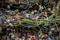 Conventional telephone wiring, BT Openreach PCP street cabinet, Warwickshire - John Harris - 18-08-2014