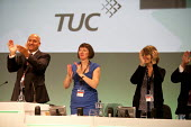 Mohammad Taj President Frances O'Grady Gen Sec and Kay Carberry, In memory of Bob Crow RMT, TUC, Liverpool 2014 - John Harris - 09-09-2014