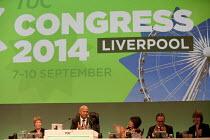 Lesley Mercer CSP, Mohammad Taj President Unite, Frances O'Grady Gen Sec, Paul Nowak TUC dep gen sec and Kay Carberry, TUC, Liverpool 2014 - John Harris - 10-09-2014