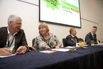 Paul Hackett, The Smith Institute, Denise McGuire Prospect. John Hannett Gen Sec USDAW, Mike Clancy Gen Sec Prospect, Prospect Fringe meeting TUC, Liverpool 2014 - John Harris - 09-09-2014
