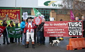 John Bull joins City Link workers and RMT members protest outside the closed distribution centre for the nationalisation of City Link after receivers were called in and workers were made redundent on... - John Harris - 2010s,2014,activist,activists,bankrupt,bankruptcy,banner,banners,BECAP12 GP Limited,Better Capital,CAMPAIGN,campaigner,campaigners,CAMPAIGNING,CAMPAIGNS,closed,closing,closure,closures,deliveries,DELI
