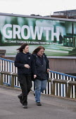 Growth, a Lloyds bank advertisement advertising lending to British business, with a model of a factory, Birmingham - John Harris - 01-04-2015