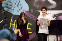 Anna Turner and Emilio Villano Harris performing at Nexus, a cross-art form, collaborative showcase series by Beatfreeks and Creative Superheroes, Ikon Gallery, Brindley Place, Birmingham - John Harris - 31-03-2015